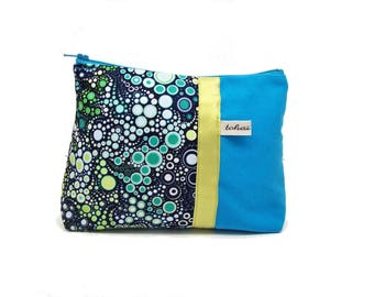 make up case navy blue and turquoise bubbles , canvas zipper case with effervescence fabric , zipper pouch , graphic fabric case