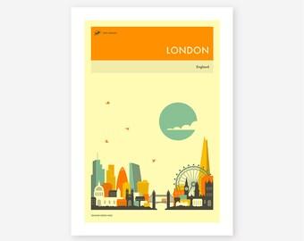 LONDON TRAVEL POSTER (Giclée Fine Art Print/Photo Print/Poster Print) by Jazzberry Blue