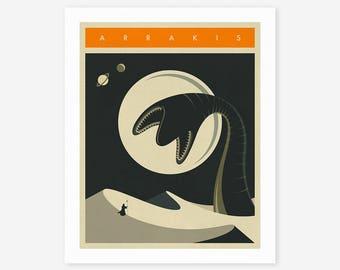 ARRAKIS TRAVEL POSTER (Giclée Fine Art Print/Photo Print/Poster Print) Black version