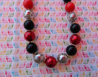 "16"" Red & Black Bandana Chunky Bubblegum Beaded Necklace * Ready to Ship*"