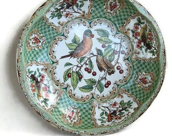 round and deep Daher tin tray with birds and cherries, Made in England