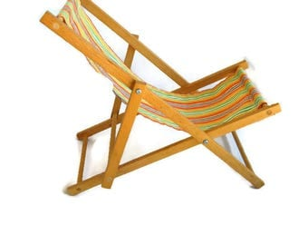 vintage doll deck chair with striped cloth Good-Wood England 1960's