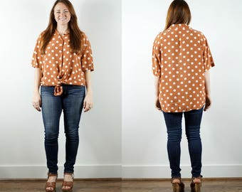 1980s Orange Polka Dot Shirt