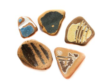 5 pieces of Patterned Textured Sea Beach Pottery, Black/Mustard/Blue/White/Brick Sea Pottery,  Pendant/Ring Sized , Mosaic Craft
