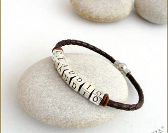 Custom-made personalized BRACELET / name - braided brown leather - Metal trendy