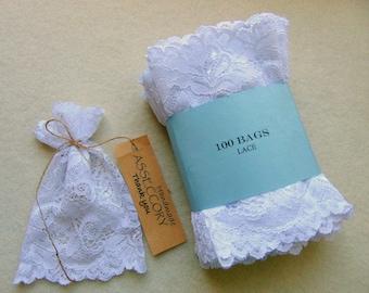 150 Lace Bags, White Favor Lace Bags, Christening Lace Favor Bags, bridal shower favor bags