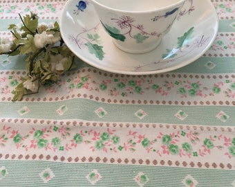 Vintage mint green and pink stripped ticking sewing fabric crafts