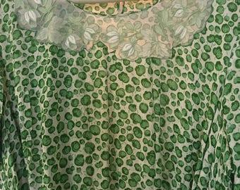 Vintage green apple dress lacey bodice fabric belt