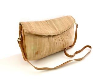 EEL Skin Messenger Style Clutch Shoulder Bag Small, Leather EEL skin Beige Clutch with Shoulder Strap Small, EEL skin Shoulder Purse Suede