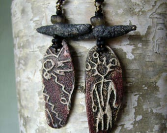 Petroglyph Man earrings, asymmetrical earrings, ceramic twigs, rustic jewelry, assemblage jewelry, unique artisan ceramic, AnvilArtifacts