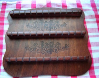 Vintage spoon rack wall hanging kitchen decor 3 tier wood rack souvenir spoon display holder