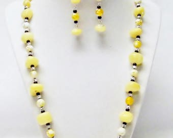 Buttercup Polished Mineral w/Natural Agate Stone Bead Necklace/Bracelet/Earrings