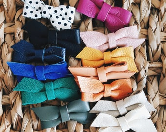 Baby / Girls Leather Bow Set of 3 ( You Choose Colors )