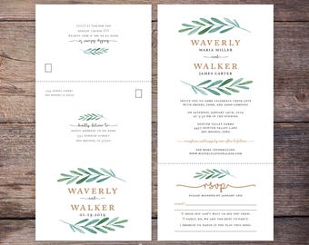 Printable Garden Wedding Seal and Send Invite, Botanical, Greenery, Send N' Seal Wedding Invitation, All in one invitation - Waverly