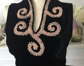 40s Black Silk Velvet Embellished Neckline Dress