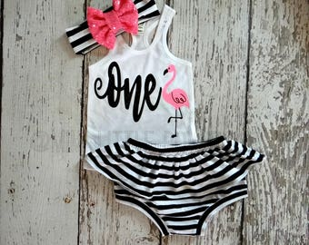 Flamingo First  birthday- White Tank top with Flamingo- 1 st Birthday Outfit- Baby Girl Clothing-Summer tank top- Striped Bloomers set