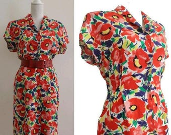 80s french floral DRESS small  poppies