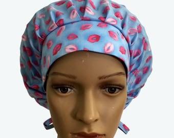 Bouffant Surgical Scrub Hat-Pink Kisses Lips on Light Blue Bouffant Scrub Hat-Cute kissing Lips Makeup Ponytail Scrub hat - Custom Scrub Hat
