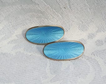 Vintage David Andersen Norway Blue Guilloche Enamel Sterling Silver Clip On Earrings