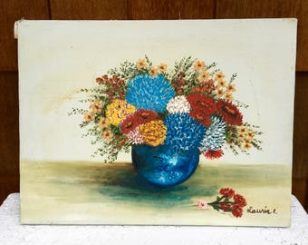 Vintage Oil Painting, Vase of Flowers, By Laurie E, Blues, Reds, and Yellows