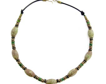 Green Bead Necklace - Oval Ceramic Beads - Brass Beads - Leather Thong