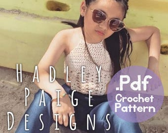 Pattern UPGRADE FROM KARMA Monokini, add on to make halter style --> the Harlow - by Hadley Paige Designs. Boho kids.  Summer wear. Ages 6-8