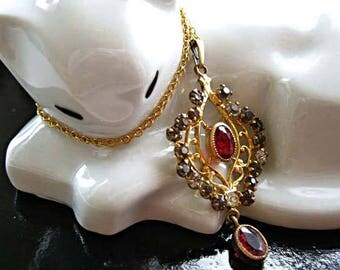 Edwardian Lavalier Pendant with Drop, Rhodolite Garnet Glass Stones, 12k Goldfill Bale and Chain, Paste Rhinestones, Late Victorian Pendant