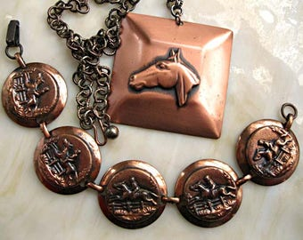 Horse Pendant and Bracelet, Thoroughbred Hunter Jumper Race Horse, Oxidized Copper, Equestrian English Western Show Rider, Horse Lover Gift