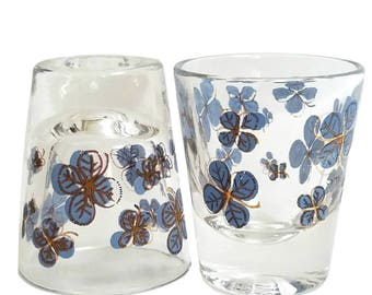 S/2 Vintage Shot Glasses / Clear Glass / Blue Flowers with Gold Outline / Feminine Barware