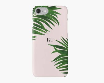 Monogrammed Green Palm Tree iPhone 7 case, iPhone 7 plus case, neon iPhone case, pink iPhone case