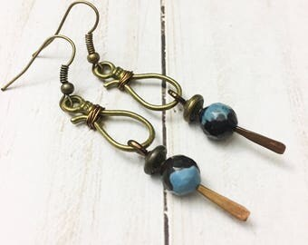 Bohemian style agate earrings with vintage brass findings and hannered metal details by Jules Jewelry Box