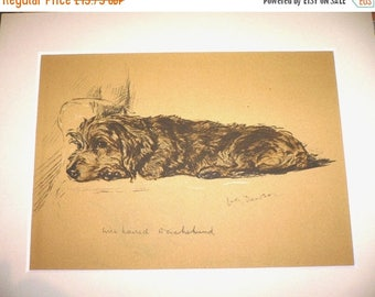 SALE DACHSHUND DOG Signed mounted 1936 Lucy Dawson Oonagh dachshund dog plate print Unique Christmas Birthday Thanksgiving dog lover gift