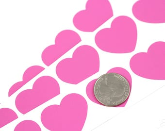 Pink Heart 1.25 inch scratch off stickers