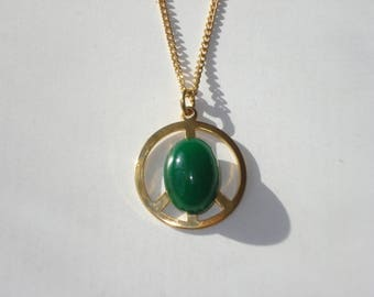 Vintage Green Peace Sign Gold Pendant -  Necklace on a Gold Chain - 1980s