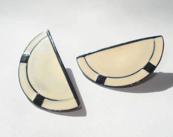 1980s Half Circle Earrings - Cream and Black Enamel - Pierced Costume Jewelry
