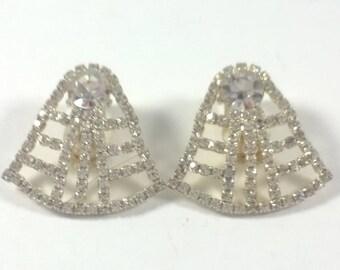 Vintage Rhinestone Crystal Earrings -  Silver Tone Clip On Retro Costume Jewelry 1960s