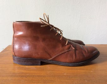 brown leather ankle boots, women's 6.5