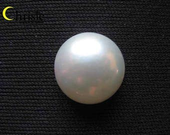 White Rainbow Mabe Pearl Cabochon - 15mm round
