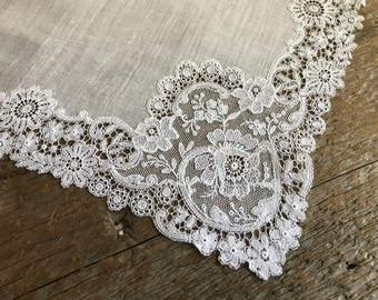 Madeira White Linen Bridal Hanky, Handkerchief, White on White Floral Lace, Hand Made, Bridal Shower Heirloom Gift