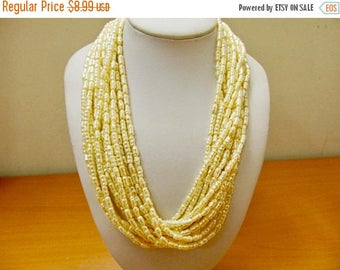 ON SALE Retro Multi Strand Faux Pearl Necklace Item K # 1666