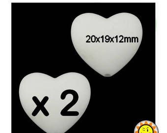 x 2 heart standards white 20mm silicone beads food teething