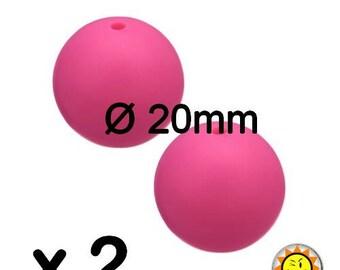 x 2 silicone beads round 20mm fushia pink standards food teething