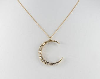 Spectacular Victorian 1.80 Ct rose cut diamond crescent moon necklace