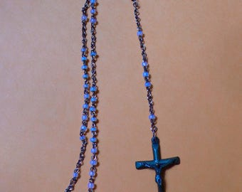 Vintage Child's Rosary Beads opalescent Glass Beads Copper Brass Gold Jesus Virgin Mary Christian Catholic Necklace