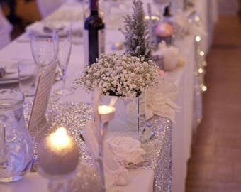 Silver Tablecloth, Sequin Tablecloths ,1DAYSHIP,  Silver Sequin Overlays, Gatsby, Glam, Anniversary, Frozen,