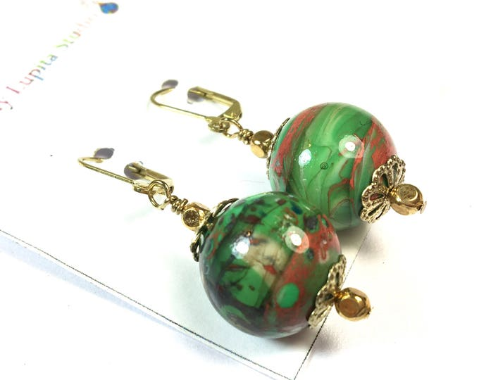 Handmade Lampwork Glass Bead Earrings Made in the Flame One of a Kind Jewelry