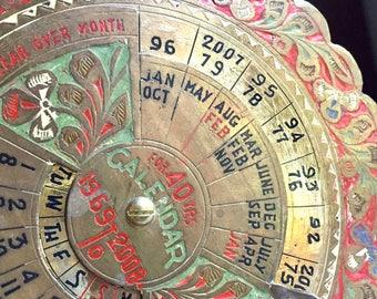 Vintage Brass Calendar, 40 Year Calendar, Round Circular Calendar, Perpetual Calendar, Floral Enameled Engraved Calendar, Desk Calendar