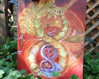 Serpentmother/child Art, painting, canvas print, visionary art, mandala, colorful