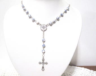 Rosary Necklace, White & Blue Gemstone, Silver Chain, Cross, Holy Spirit, dove