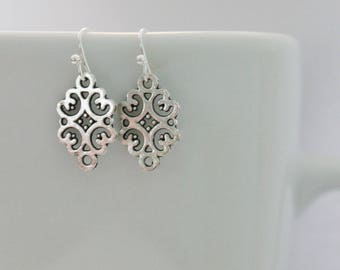 Silver flower swirl earrings, simple silver filigree dangle earrings